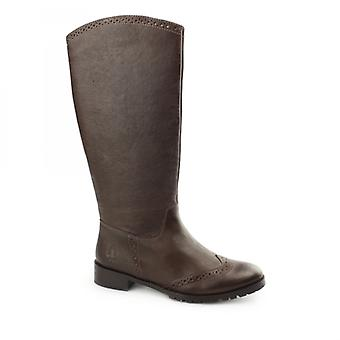Hush Puppies Emilia Ladies Pelle Brogue Tall Boots Brown