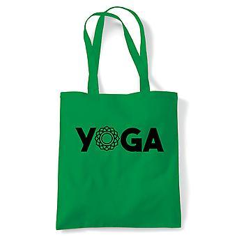 Yoga Tote | Yoga Yogi Sutra Mantra Stress Relief Relax Pose | Reusable Shopping Cotton Canvas Long Handled Natural Shopper Eco-Friendly Fashion