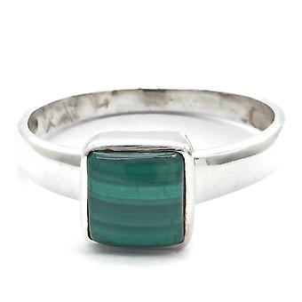 Ring Silver 925 Sterling Silver Malachite Green Stone (Nr: IRM 145)