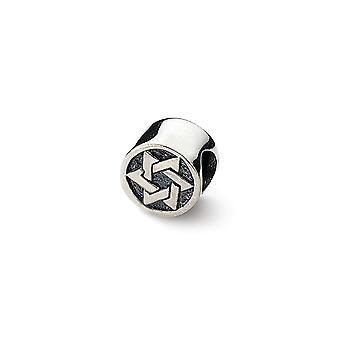 925 Sterling Silver Polerad finish Reflektioner Religiösa Judaica Star of David Bead Charm Hängande Halsband Smycken Gift