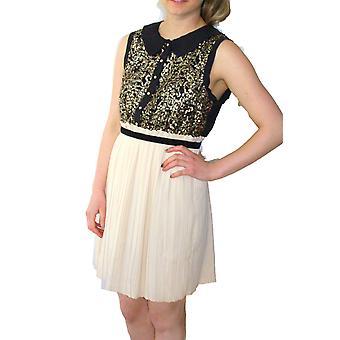 Darling vrouwen ' s crème zwart goud Sequin Cassandra jurk