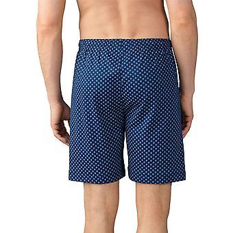 Mey Men 21450-664 Men's Lounge Neptune Blue Motif Cotton Pyjama Short