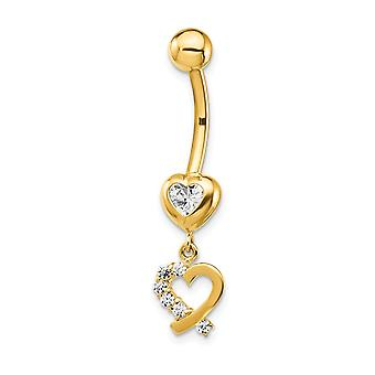 7.65mm 14k CZ Cubic Zirkonia Simuloitu Diamond 2 Love Hearts Dangle Belly Ring korut Lahjat naisille