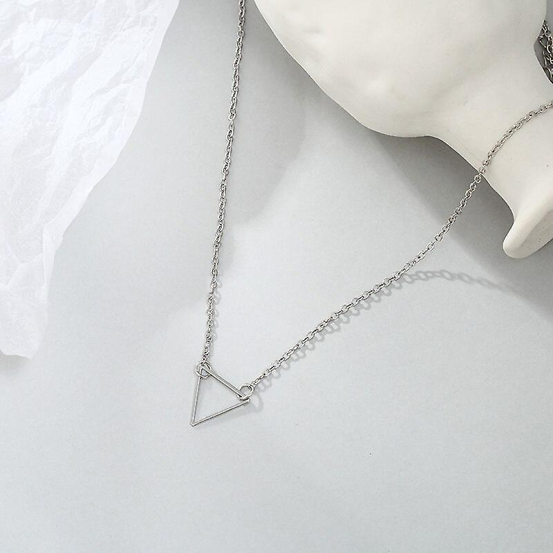 Silver Hollow Triangle Pendant Necklace