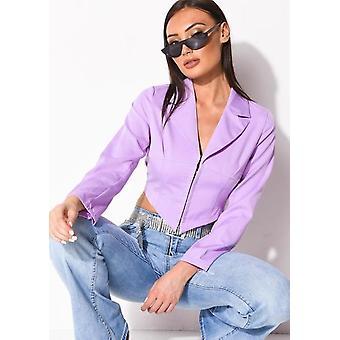 Cropped Corset Style Shirt Lilac Purple