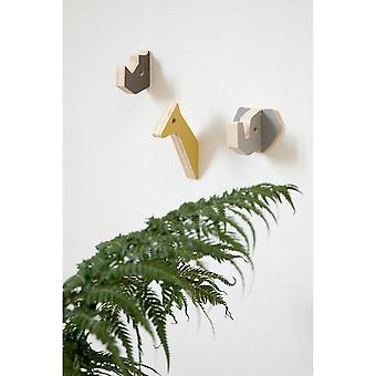 Sebra - wooden wall hooks - rhino and friends - warm grey