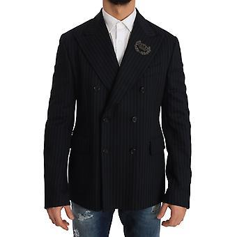Dolce & Gabbana Blue Striped Royal Crown Blazer Jacket