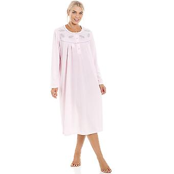 Camille Womens Classic Light Pink Long Sleeve Nightdress