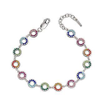 Fiorelli Silver & Rainbow Crystals Open Disc Bracelet