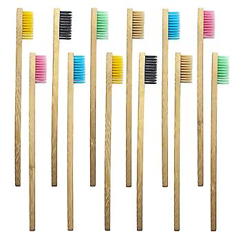 10x Toothbrush, Bamboo - Assorted Colors