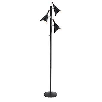 Three Light Floor Lamp in Matte Black Metal