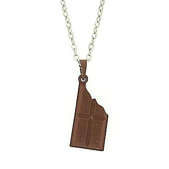 TOC Silvertone Brown Milk Chocolate Pendant Necklace 18