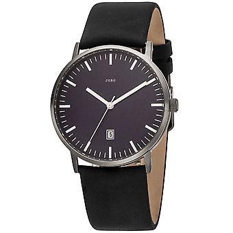 JOBO Men's Watch Quartz Analog Titanium Leather Strap Dark Blue