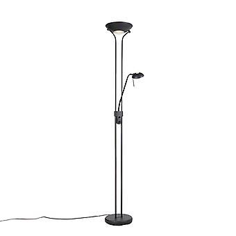 QA-QA Lampada da pavimento nera con lampada da lettura incl. LED e dimmer - Diva 2