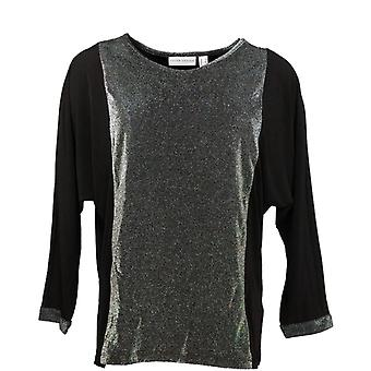 Susan Graver Women's Top Metallic & Liquid Knit Black/ Silver A343057