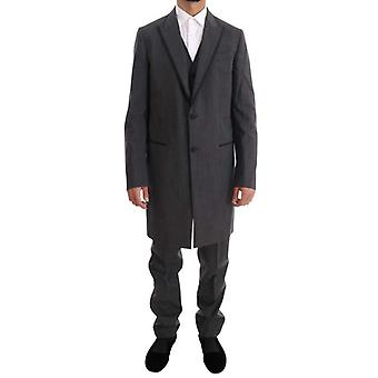 Dolce & Gabbana Gray Wool Long 3 Piece Two Button Suit -- KOS1020976