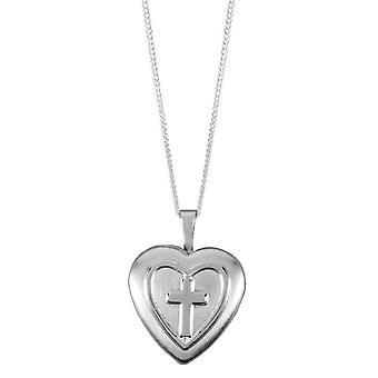 Orton oeste coração com cruz medalhão - prata