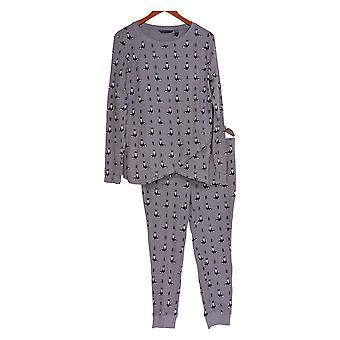 Anybody Women's Petite Pajama Set Cozy Knit Waffle Printed Purple A345788