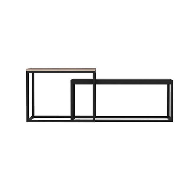 Table basse-apos; Leka Color Walnut, Melaminic Chip Black, Métal 60x47x45 cm, 72x45x37 cm