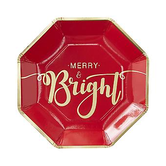 Gold Foiled Merry And Bright Christmas Paper Plates - Red and Gold Pack of 8 plates