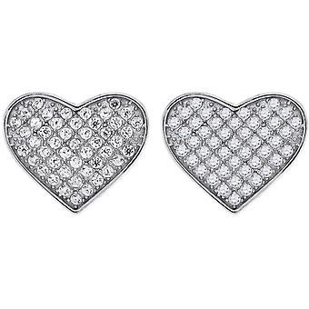 925 מכסף סטרלינג CZ מעוקב יהלומים מדומה יהלום הרבעה אהבה עגיל מדדים 11.7 x 13.3 mm תכשיטים רחבים