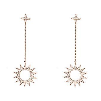 Longue chute Or Rose Rose soleil CZ boucles d'oreilles 925 Stud étoiles grand pierre précieuse de mariage