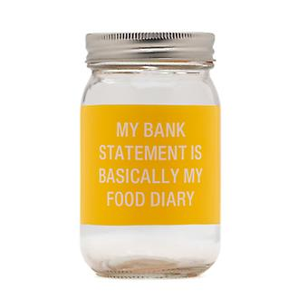 Say What Food Diary Glass Jar Money Bank (Yellow)