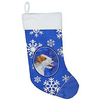 Jack Russell Terrier vinter snefnug Christmas strømpe SS4642