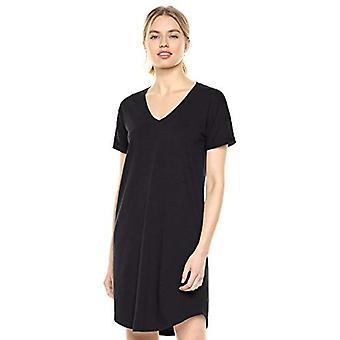 Marke - tägliche Ritual Frauen's gelebte Baumwolle Roll-Sleeve V-Ausschnitt T-Shirt Kleid, schwarz, groß