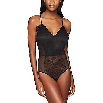 Brand - Mae Women's T-Back Lace And Mesh Bodysuit, Black, Small