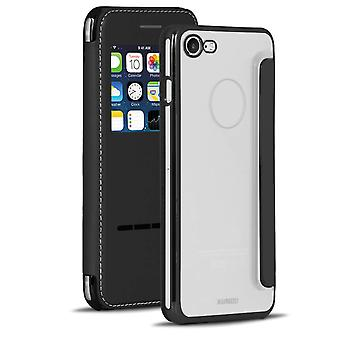Transparent Glossy Shell for Apple iPhone 7/8 With Window Glass Cover TPU Black
