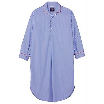 British Boxers Burford Stripe Crisp Nightshirt - Azul/Blanco