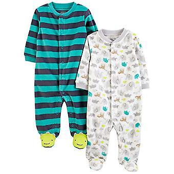 Simple Joys by Carter's Boys' 2-Pack Fleece Footed Sleep and Play, Animal/Str...