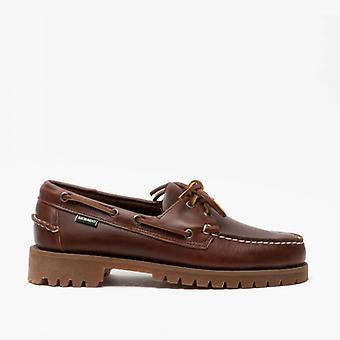 Sebago Ranger Waxy Mens Leather Boat Shoes Brown Gum