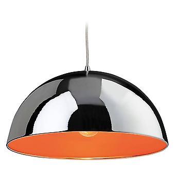 Firstlight Bistro - 1 Light Dome Deckenanhänger Chrom, Orange Innen, E27