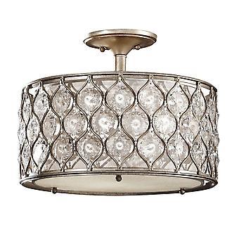 elstead lucia - 3 lys semi flush taklampe brent sølv, E27
