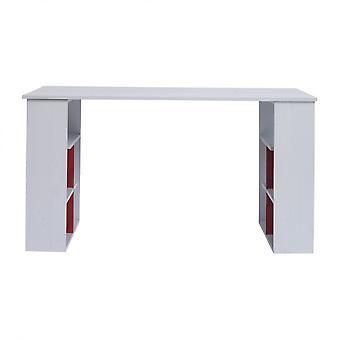 Rebecca Möbel Schreibtisch Pc Tisch mit Regalen weiß weiß rot 75x140x60