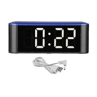 Multifunctionnal USB Charging Touch Screen LED Mirror Clock Blue