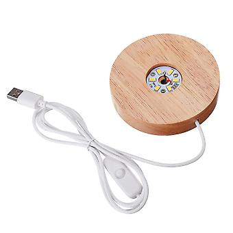Wood Color Base, White And Warm Light Rechargeable Remote Control Led