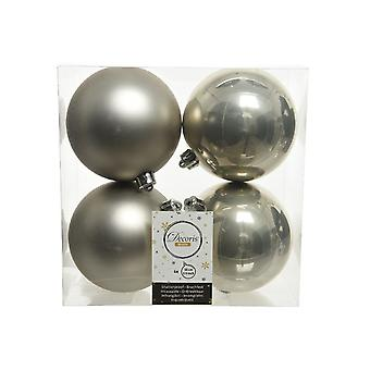 4 Misty Grey 10cm Shatterproof Christmas Tree Bauble Decorations