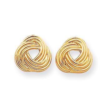 14k Yellow Gold Polished Post Earrings Love Knot Earrings - .6 Grams - Measures 13x13mm
