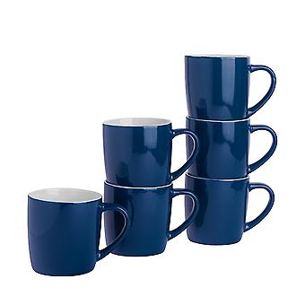 Tea Coffee Mugs - 6pc Contemporary Coloured Ceramic Cups Set - 350ml - Navy - Pack of 6