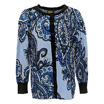 Bob Mackie Women's Sweater Placement Print Cardigan Blue A288458
