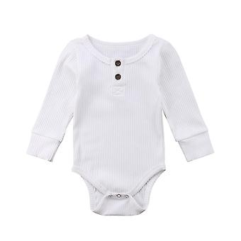 Ribbed Bodysuit Ruffle One-pieces Solid Jumpsuit With Long Sleeve Outfits For Infant Baby Girl / Boy