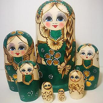 Wooden Nesting Dolls Toy Kids Christmas New Year, Handmade Crafts