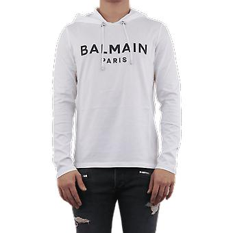 Balmain HOODED BALMAIN RUBBER LONG SLE White TH11006I2350FA Top