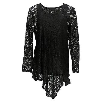 Women with Control Women's Top Ruffle Lace Tunic And Tank Black A350623