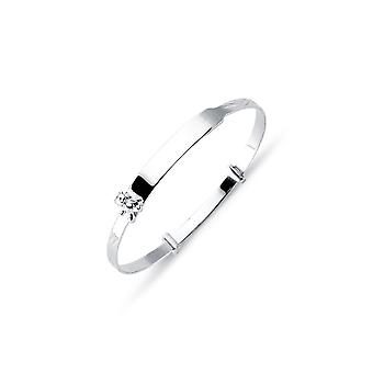 Jewelco London Kids Rhodium Plated Sterling Silver Expanding Bransoletka bransoletka 3mm