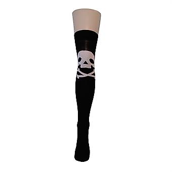 Flirt Patterned Over The Knee Socks Skull & Crossbones