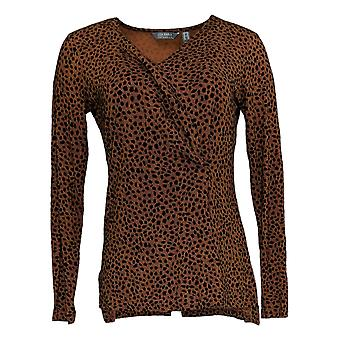 Lisa Rinna Collection Women's Top (XXS) Printed V-Neck Brown A370178